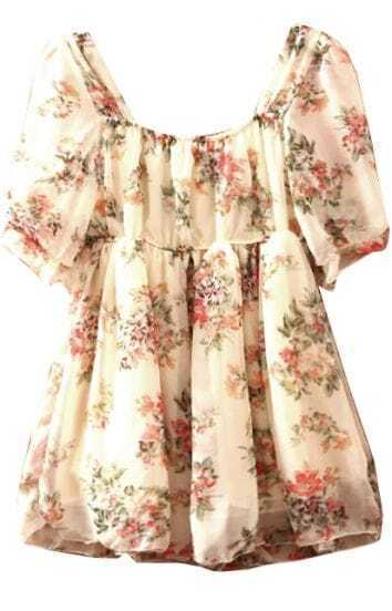 Beige Scoop Neck Puff Sleeve Floral Chiffon Dress