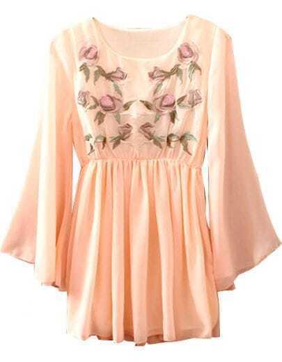 Pink Long Sleeve Embroidery Pleated Chiffon Dress