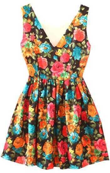 Black V Neck Sleeveless Rose Print Dress