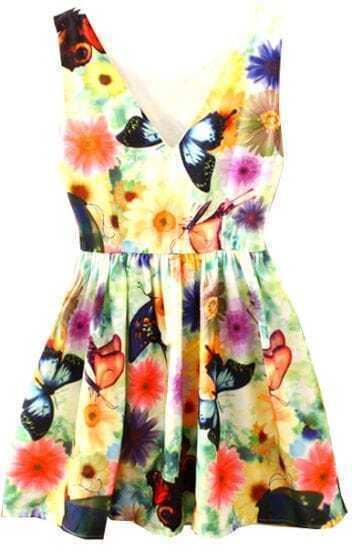 White V Neck Sleeveless Butterfly Print Dress