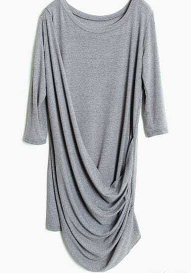 Grey Half Sleeve Pleated Loose Dress