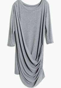 Grey Half Sleeve Pleated Loose Dress