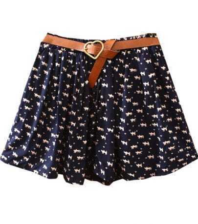 Navy Belt Cats Print Cotton Skirt