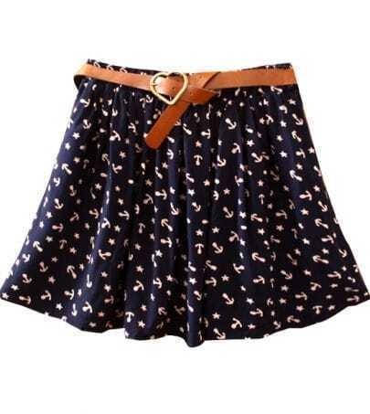 Navy Belt Anchor Print Cotton Skirt