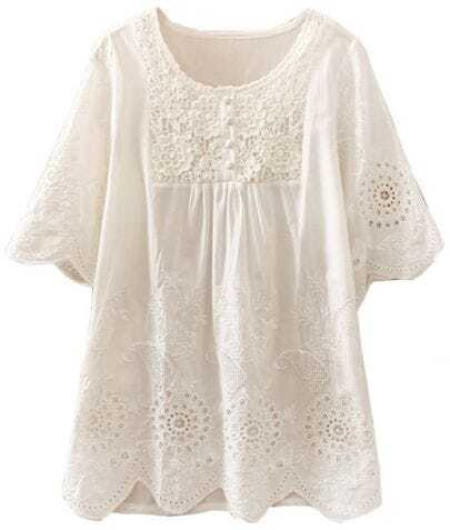 White Short Sleeve Hollow Embroidery Blouse
