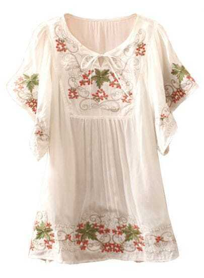 White Batwing Sleeve Cherry Embroidery Blouse