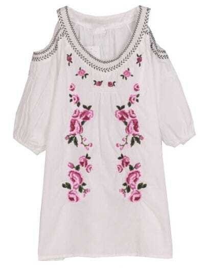 White Off the Shoulder Rose Embroidery Blouse
