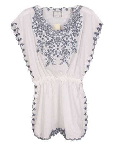 White Short Sleeve Porcelain Embroidery Blouse