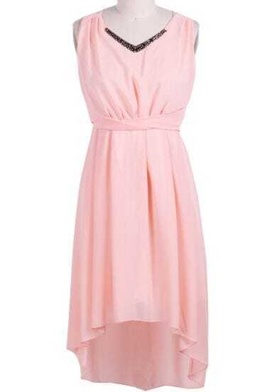 Pink V Neck Sleeveless Metal High Low Dress