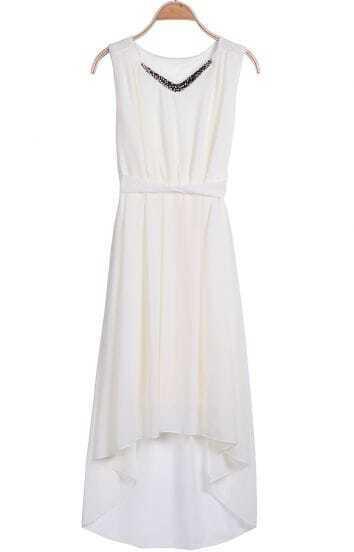 Apricot V Neck Sleeveless Metal High Low Dress