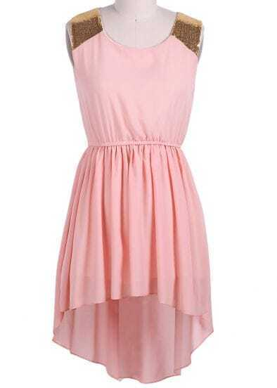 Pink Sleeveless Sequined Shoulder High Low Dress