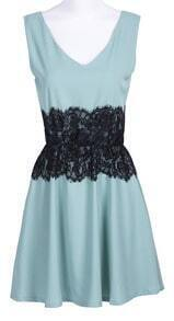 Mint Green V-neck Sleeveless Lace Embellished Waist Chiffon Dress