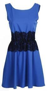 Royal Blue V-neck Sleeveless Lace Embellished Waist Chiffon Dress