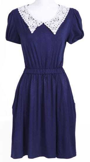 Navy Short Sleeve Crochet Collar Modal Pleated Dress