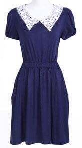 Navy Short Sleeve Crochet Collar Modal Pleated Dress
