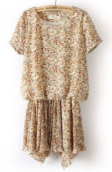 Beige Short Sleeve Floral Pleated Chiffon Dress
