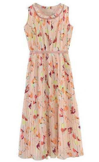 Beige Sleeveless Floral Pleated Tank Chiffon Dress