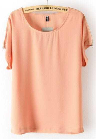 Pink Batwing Sleeve Shoulder Zipper Loose T-Shirt