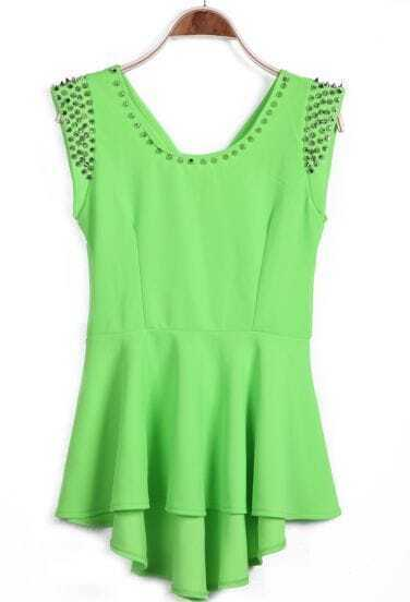Green Sleeveless Rivet High Low Dress