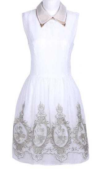 White Lapel Sleeveless Zipper Embroidery Dress
