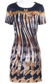 Black Short Sleeve Tigrina Print Silk Dress