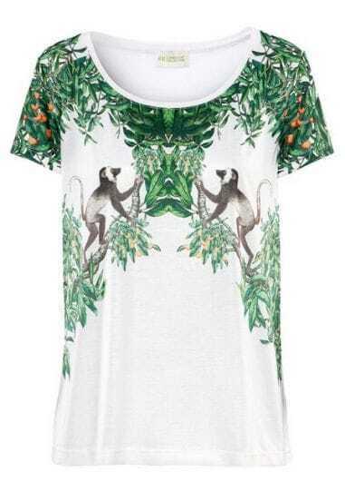 White Short Sleeve Plant Monkey Print T-Shirt