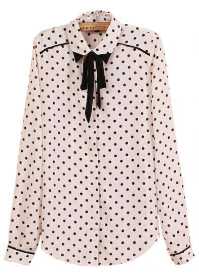 White Long Sleeve Bow Polka Dot Chiffon Blouse