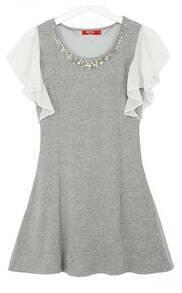 Grey Ruffles Sleeve Bead Skinny Dress