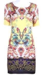 Yellow Short Sleeve Flowers with Birds Print Silk Dress