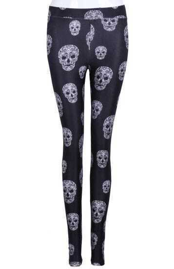 Black Skinny Skulls Print Leggings
