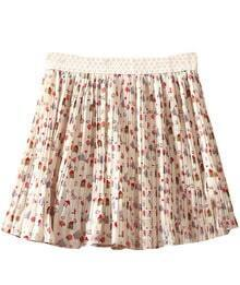 Beige High Waist Houses Print Pleated Chiffon Skirt