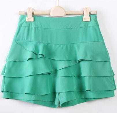 Green Asymmetrical Cascading Ruffle Shorts