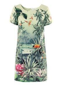 Green Short Sleeve Flower Birds Print Dress