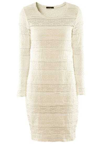 White Long Sleeve Hollow Lace Bodycon Dress
