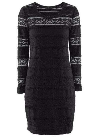 Black Long Sleeve Hollow Lace Bodycon Dress