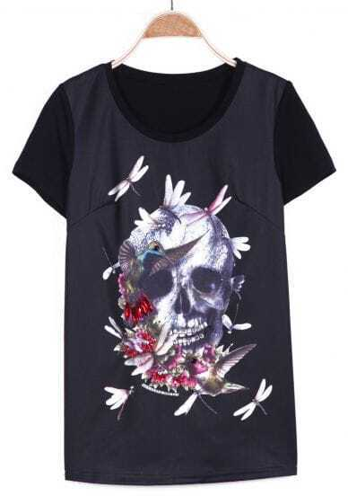 Black Short Sleeve Skull with Dragonfly Print T-shirt