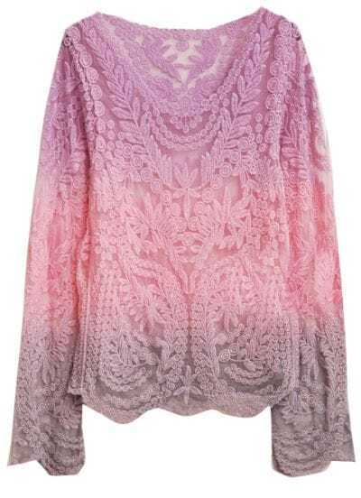 Purple Pink Dip Dye Long Sleeve Hollow Crochet Lace Blouse