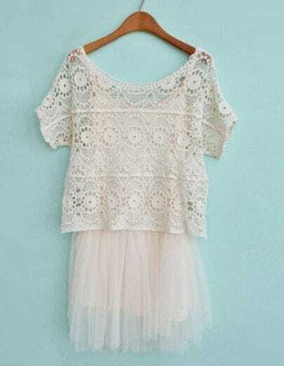 Beige Short Sleeve Lace Two Pieces Dress