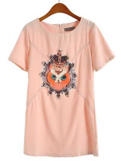 Nude Short Sleeve Owl Print Bead Chiffon Dress