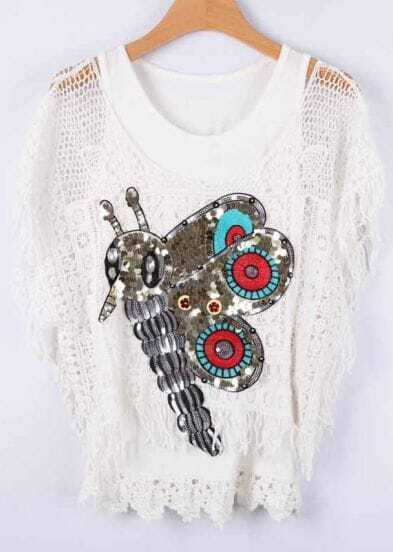 White Hollow Sequined Bee Lace Vest