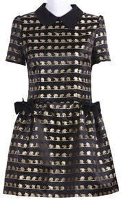 Black Elephant Print Short Sleeve Peter Pan Collar Dress