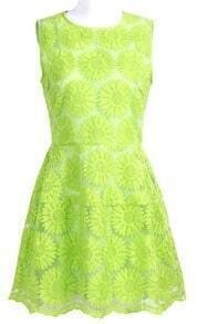 Green Sleeveless Sunflower Embroidered A-line Dress
