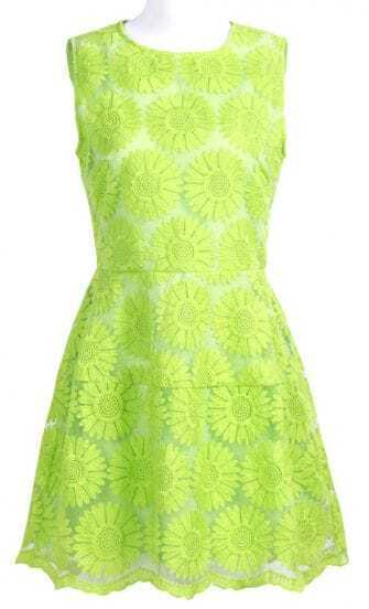 Green Sleeveless Sunflower Embroidered A-line Dress