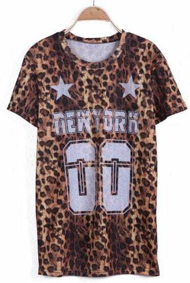 Leopard Short Sleeve NEW YORK 00 Print T-Shirt