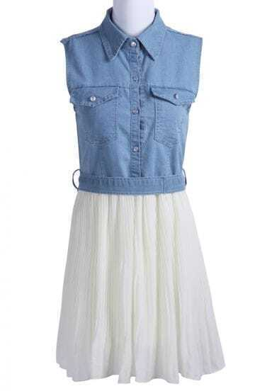 Blue White Sleeveless Pockets Denim Chiffon Dress