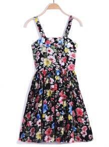 Black Spaghetti Strap Floral Pleated Dress