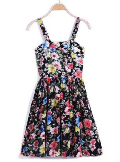 Black Spaghetti Strap Floral Pleated Dress