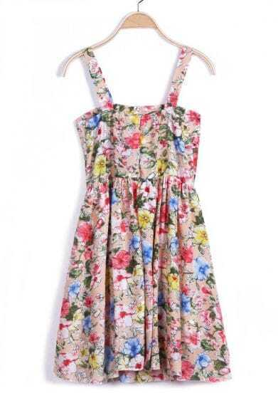 Pink Spaghetti Strap Floral Pleated Dress