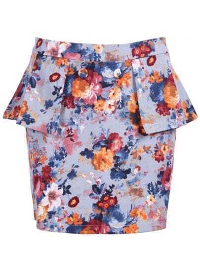 Blue Floral Ruffles Buttons Bodycon Skirt