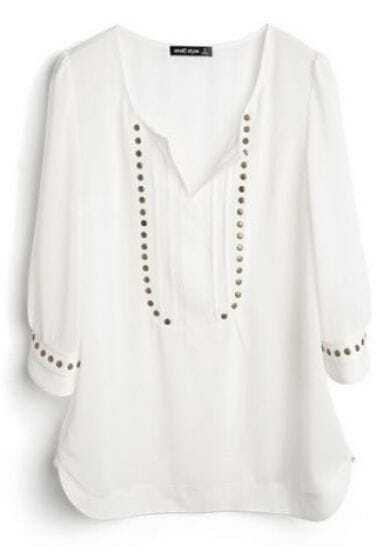 White V Neck Half Sleeve Studded Chiffon Shirt